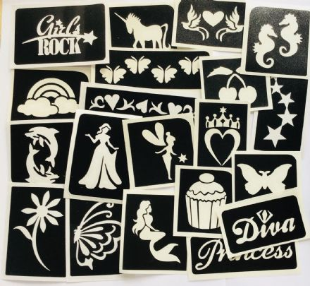 GLITTER TATTOO 20 GIRLS MIXED STENCILS HEART UNICORN MERMAID BUTTERFLY RAINBOW